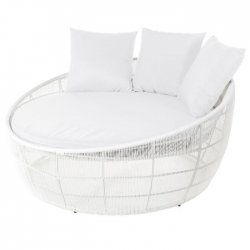 Cama redonda rattán blanco Muebles Chill Out  LDK83164