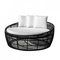 Cama redonda rattán negro Muebles Chill Out  LDK83165