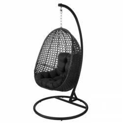 Sillón colgante negro con soporte Muebles Chill Out  LK82980
