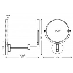 Espejo de aumento negro mate doble cara Espejos de Aumento JVD JV8661687