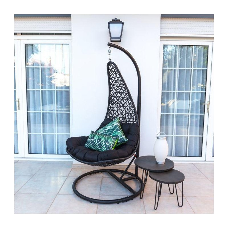 Silla colgante negro con soporte Muebles Chill Out  LK82978