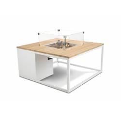 Mesa con fuego Cosiloft 100 Blanco Teca Cristal Fuegos de Jardín BUTSIR COSI0009CR