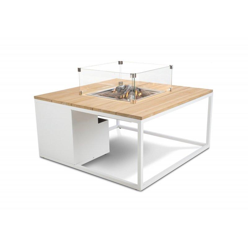 Mesa con fuego Loft 100 Cristal Blanco/Teca Fuegos de Jardín BUTSIR COSI0009CR