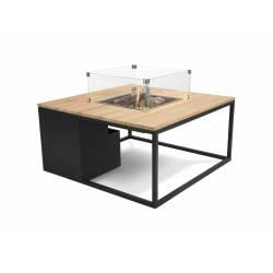 Mesa con fuego Loft 100 Cristal Negro/Teca Fuegos de Jardín BUTSIR COSI0010CR