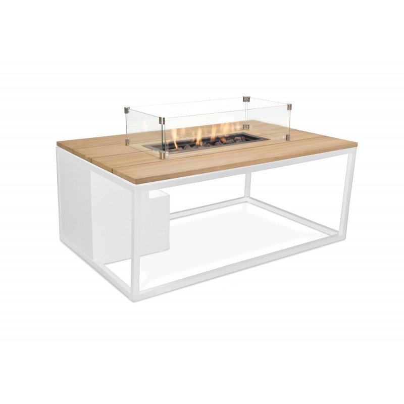 Mesa con fuego Loft 120 Cristal Blanco/Teca Fuegos de Jardín BUTSIR COSI0013CR