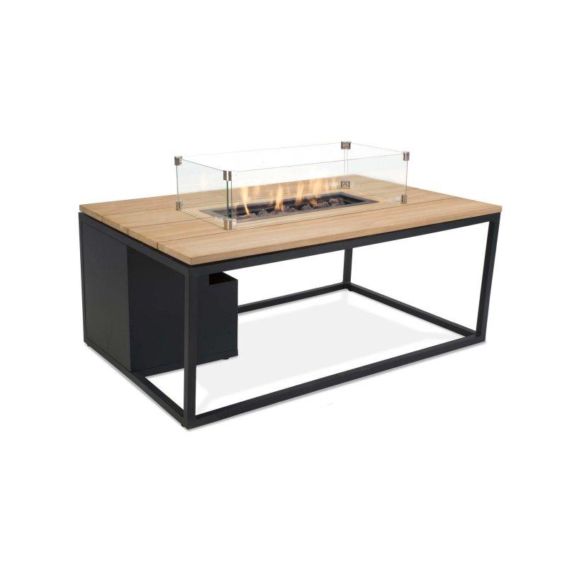 Mesa con fuego Loft 120 Cristal Negro/Teca Fuegos de Jardín BUTSIR COSI0014CR