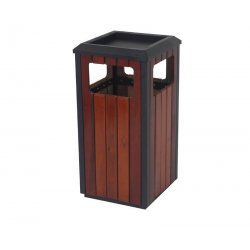 Papelera exterior madera con cenicero cuadrada Papeleras exterior y Ceniceros JAMI JMPE503MAI0
