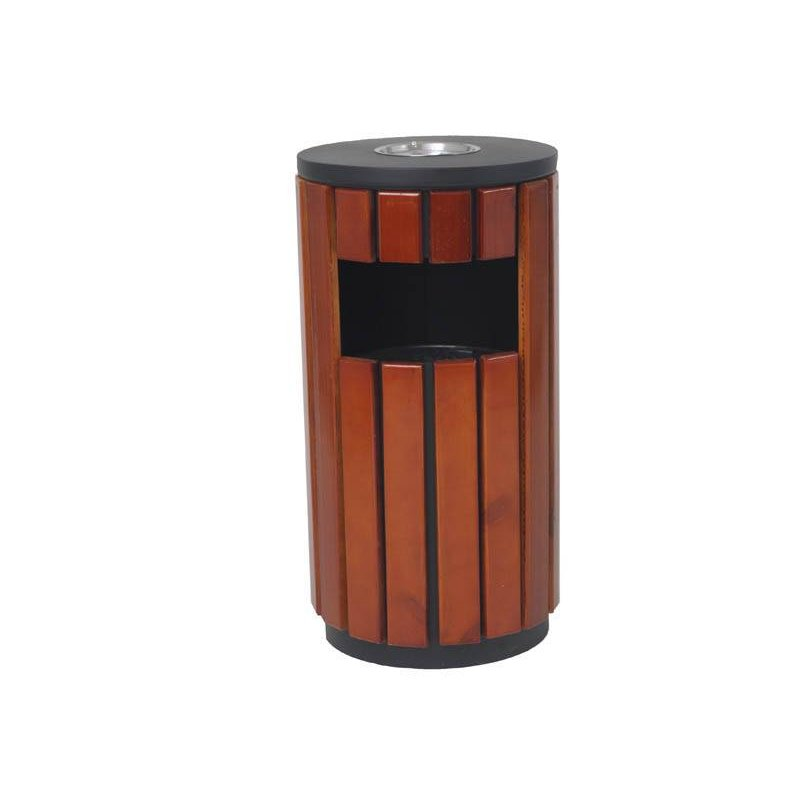 Papelera de Madera exterior Redonda con cenicero Papeleras exterior y Ceniceros JAMI JMPE502MAI0