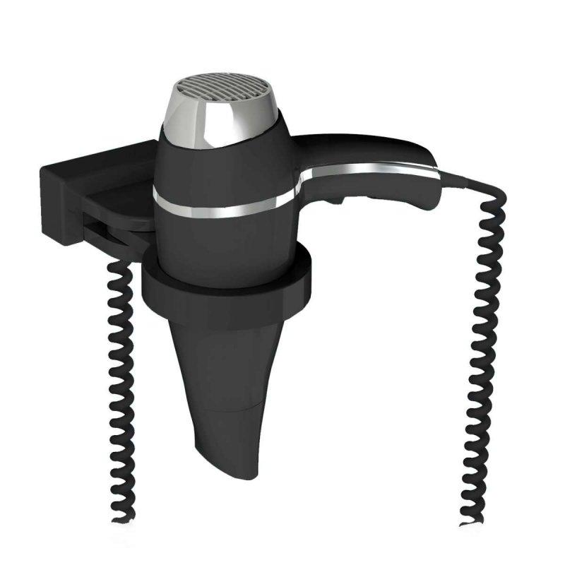 Secador de Pelo Alteo Negro con soporte Secadores con soporte pared JVD JV8221626