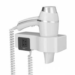 Secador de Pelo en soporte con enchufe Alteo blanco Secadores Pelo Hotel JVD JV8221176