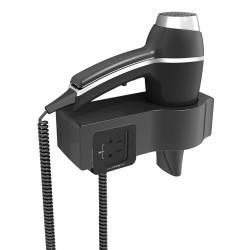 Secador de Pelo en soporte con enchufe Alteo negro Secadores Pelo Hotel JVD JV8221179