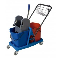 Carro de fregar con dos cubos 25L prensa y cesto Neptuno Maxi Carros de limpieza  PB8074A